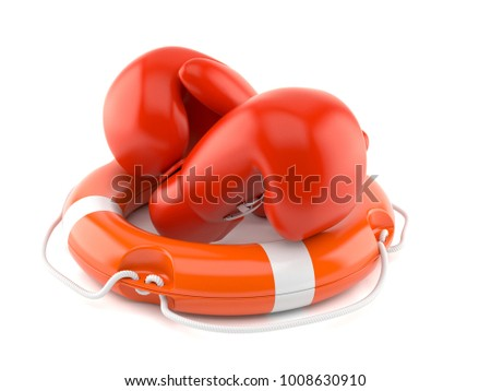 Boxing gloves with life buoy isolated on white background. 3d illustration