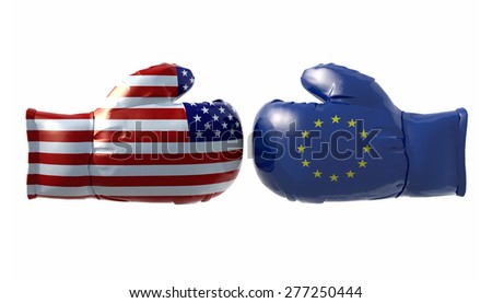 Boxing gloves with Usa and Euro flag, isolated 3d illustration - stock photo