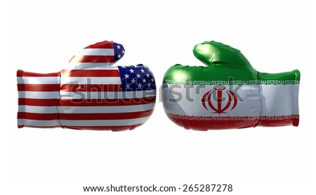 Boxing gloves with Usa and Iran flag, isolated 3d illustration - stock photo