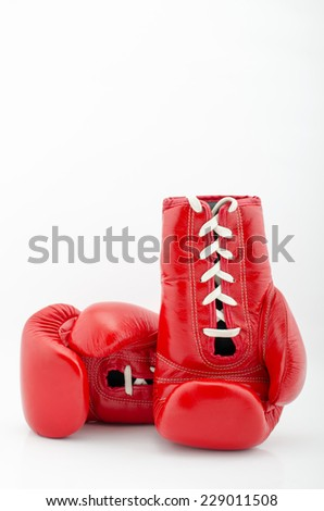Boxing gloves with white blackground - stock photo