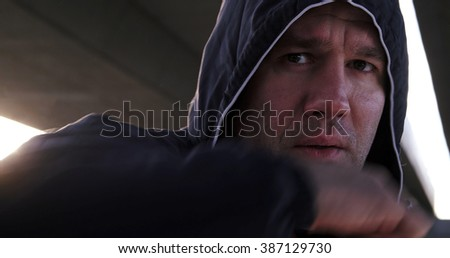Boxing man ready to fight. Boxing, workout, muscle, strength, power