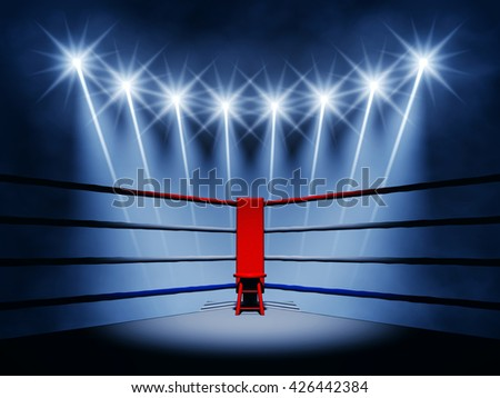 Boxing ring corner and spotlights , Fight night event , Arena , 3d illustration