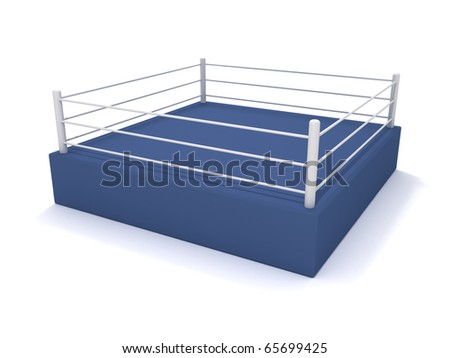 Boxing ring. 3D rendering of a boxing arena