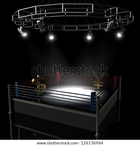 Boxing ring dollar vs Japanese yen. High resolution 3d render - stock photo