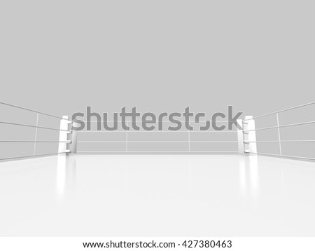 Boxing ring isolate object.3D rendering.