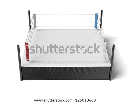Boxing ring isolated on a white background - stock photo