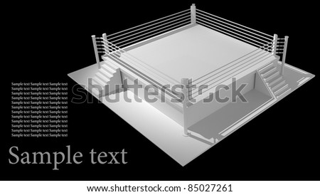 Boxing ring isolated on black background - 3d render high resolution - stock photo
