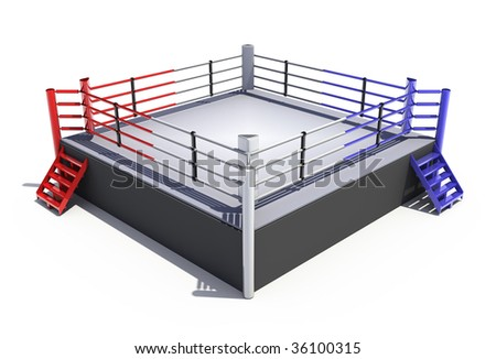 Boxing ring isolated on white background - 3d render