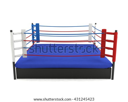 Boxing ring isolated on white background, 3D rendering