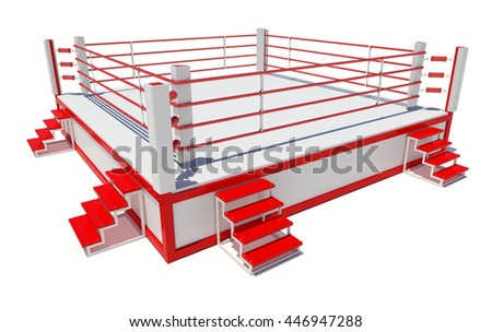 Boxing ring isolated on white background. 3D rendering