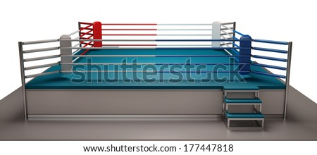 Boxing ring isolated on white background High resolution 3d render