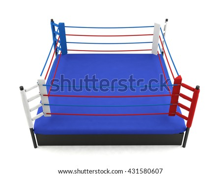 Boxing ring isolated on white background, sport equipment, 3D rendering
