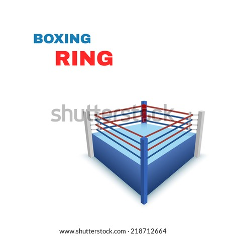 Boxing Ring Isolated on white. illustration