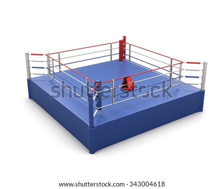 Boxing ring on a white and gloves on the ropes. 3d illustration.
