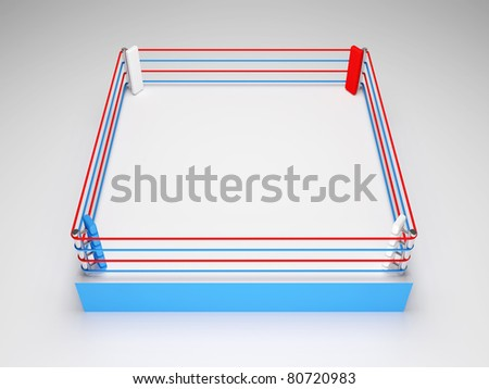 Boxing ring on white background