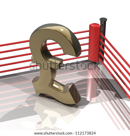 Boxing ring with British pound symbol isolated on white background - 3d render high resolution - stock photo