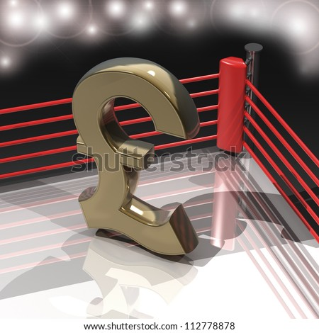 Boxing ring with British pound symbol render high resolution - stock photo