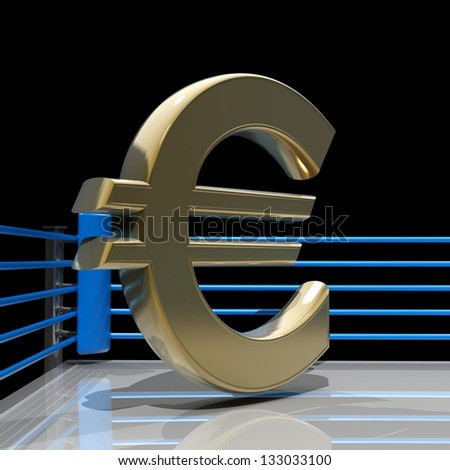 Boxing ring with Euro symbol isolated on black background - 3d render high resolution
