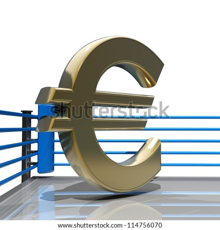 Boxing ring with Euro symbol isolated on white background - 3d render high resolution - stock photo