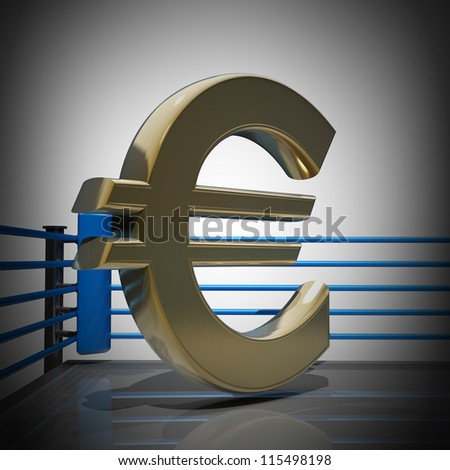 Boxing ring with Euro symbol render high resolution - stock photo