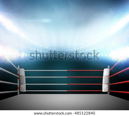 boxing ring with illumination by spotlights. digital effect 3d render.