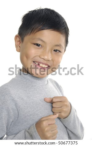 Boxing smilly boy isolated on white. - stock photo