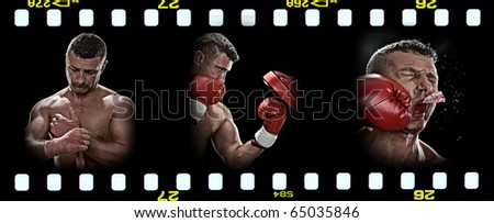 boxing theme triptych composed of a few images - stock photo