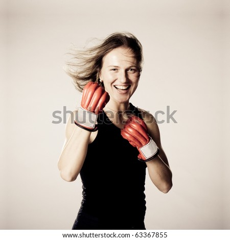 Boxing Woman. Smile and happy - stock photo