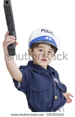 Boy age 6 boy pretending to be a police officer