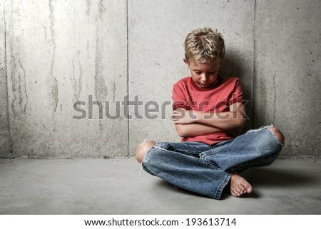 Boy alone - stock photo