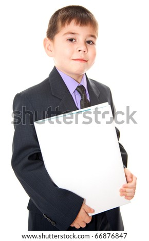 Boy and a banner - stock photo
