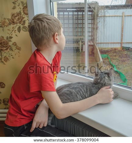 boy and a cat looking out the window