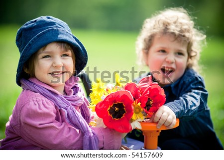 boy and a girl on a date - stock photo