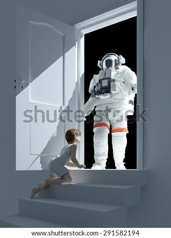 Boy and astronaut near the open door. - stock photo