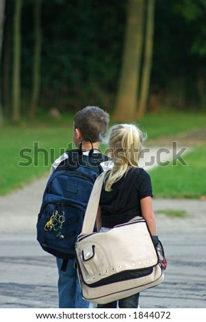 Boy and Girl at Bus Stop