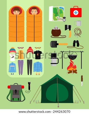 Boy and girl in sleeping bags next to tent with campfire and backpack. Facilities for tourism, recreation, survival in the wild illustration - stock photo