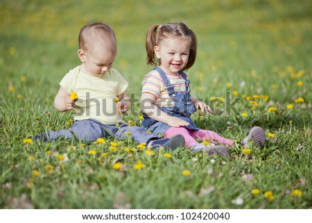 Boy and girl in the field