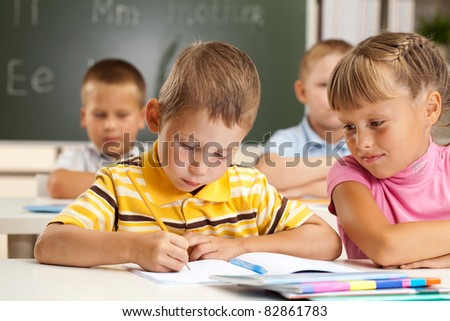 boy and girl in the office - stock photo