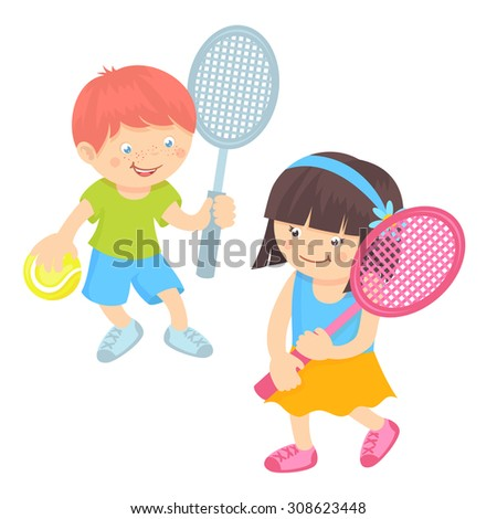 Boy and girl kids with sport equipment playing tennis isolated on white background  illustration - stock photo