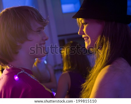 Boy and girl on party - stock photo