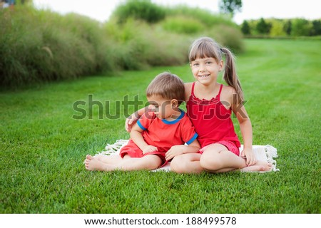 boy and girl on the lawn