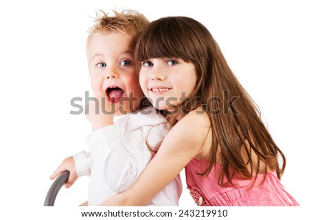 BOY AND GIRL ON WHITE BACKGROUND - stock photo