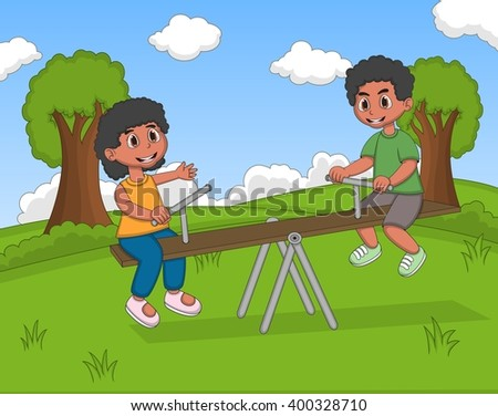 Boy and girl play teeter cartoon image illustration - stock photo
