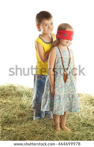 Boy and girl playing hide and seek. Boy ties girl with a scarf eyes that saw nothing-Isolated on white background