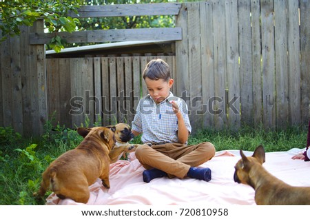 Boy and girl playing with their pets - dogs French bulldog. Smiling happy children.