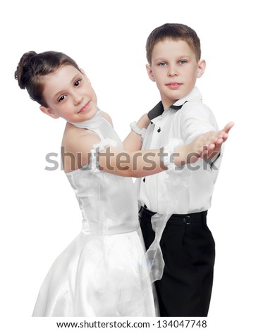 Boy and girl posing waltz isolated on white - stock photo