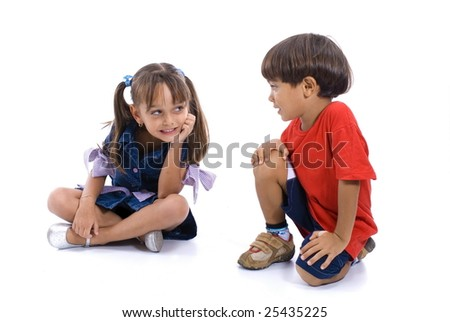 Boy and Girl smiling on white background . - stock photo