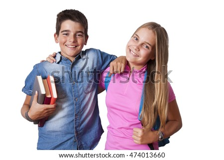 boy and girl students isolated on white background