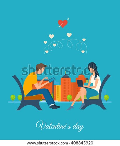 Boy and girl talking on the internet. Online communication. Meeting love couple. Valentine Day postcard. Valentine's day greeting letter. Valentines Day gift card. Invitation card for wedding.  - stock photo