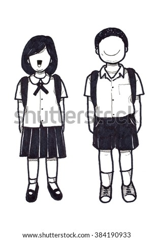 how to draw a girl and a boy holding hands